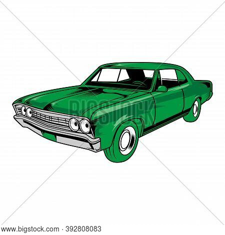 Retro Motor Show Vintage Poster With Classic Car. Old Car With Vehicle Engine Parts,