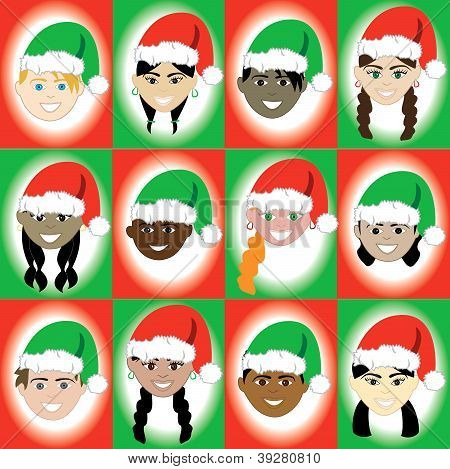 Christmas Hat Kid Faces
