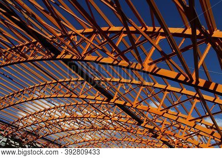 Steel Truss Roof For Building Construction. Background