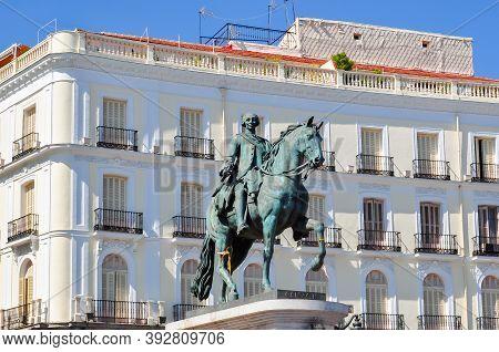 Statue Of Charles Iii On Puerta Del Sol Square, Madrid, Spain