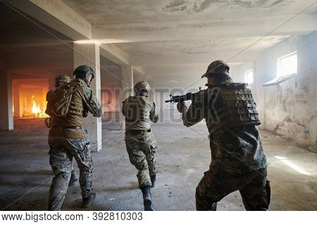 military troops in action urban environment