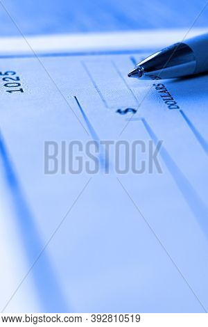 Detail of Pen for writing check payment cheque sign