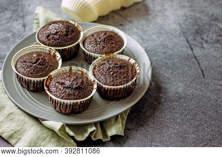 Homemade Gluten-free Muffins With Chocolate Close-up. Gluten-free Flour Cupcakes With Chocolate On A