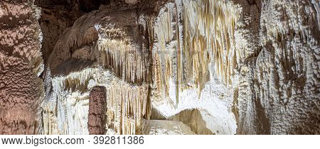 Underground Caves With Stalactites And Stalagmites. Frasassi Caves, Italy