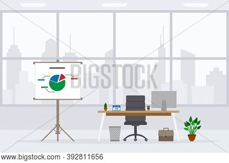 Design Of Modern Empty Office Working Place Front View Vector Illustration. Flat Style Table, Desk,
