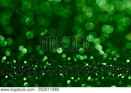 Abstract Bokeh Dark Green With Light Background.green X Mas Color Night Light Elegance,smooth Backdr