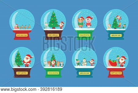Glass Christmas Globe With Winter Cityscape And Snow In Flat Style. Snow Glass Ball With Santa Claus