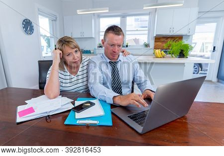 Stressed Couple Unable To Pay Mortgage Or Rent Payments Due To Loss Of Income Amid Covid-19