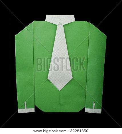 Isolated Paper Made Green Shirt With White Tie