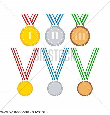 Gold, Silver, Bronze Medals With Ribbon Set Isolated On White Background. Cartoon Awards Badge With