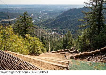 Manitou Springs, Colorado - September 15, 2020: The Old Railroad Ties That Make Up The Manitou Incli