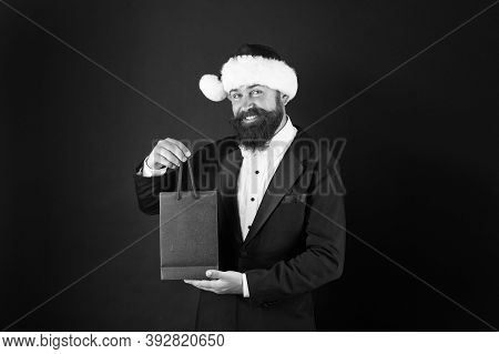 Dont Fear Finding Perfect Present. Happy Hipster Enjoy Xmas Shopping. Businessman Smile With Present