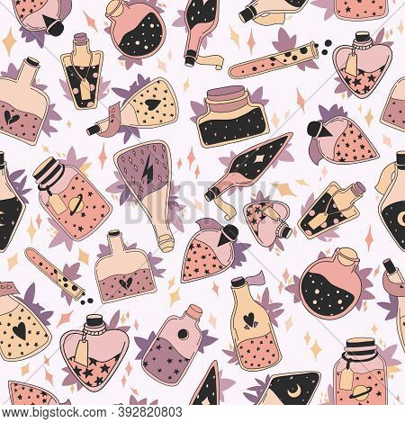 Seamless Pattern With Colorful Magic Cartoon Bottles And Love Potions With Stars. Vector Illustratio