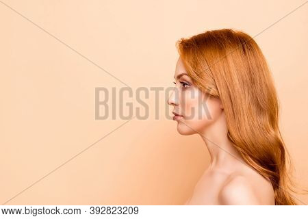 Profile Side View Close-up Portrait Of Her She Nice-looking Attractive Lovely Nude Naked Pure Perfec