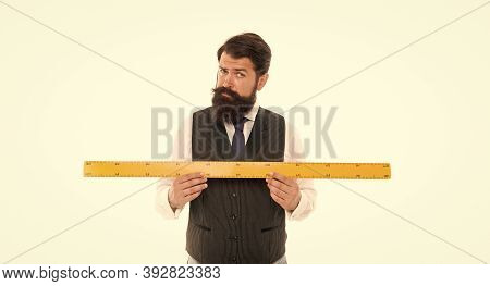 Big Size. Measure And Control. Bearded Man With Ruler Isolated On White. Size Tall And Length. Geome