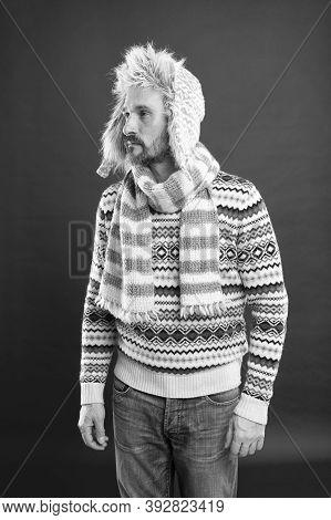 Born Stylish. Stylish Man On Red Background. Mature Man With Stylish Winter Look. Fashion And Style.