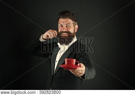 Drinking Coffee. Businessman Enjoy Coffee Break. Preparing Caffeine Beverage. Cafe Equipment. Buy Wh