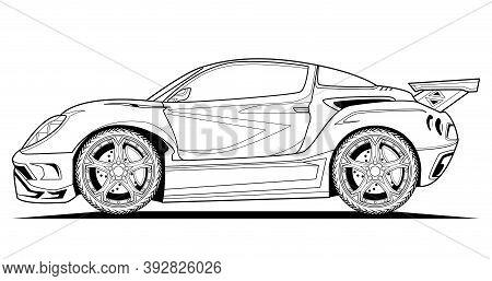 Car Vector Concept Design Line Illustration. Black Contour Sketch Illustrate Adult Coloring Page For