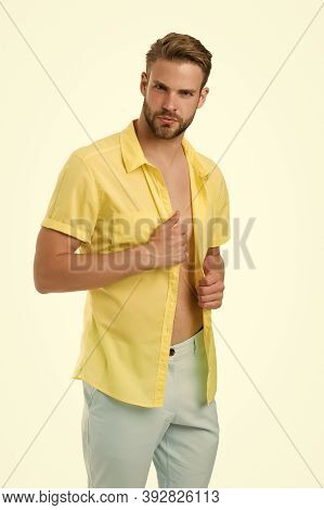 Confident In His Sexuality. Sexy Guy Undressing. Seducing You. Unshaven Macho Unbuttoned Shirt. Casu