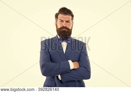 Male Fashion Model Posing. Handsome Brunette Model With Beard And Moustache. Business Man Portrait.