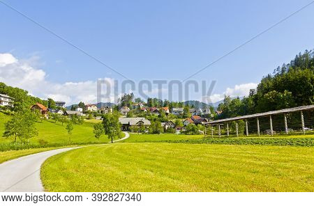 Picturesque View Of Bled Town Near Bled Lake, Upper Carniolan Region, Slovenia. Town Is Most Notable