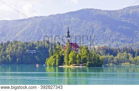 Pilgrimage Church Of The Assumption Of Maria (slovenian: Cerkev Marijinega Vnebovzetja) On Bled Isla