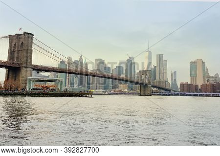 Stunning Views Of A Famous Suspended Brooklyn Bridge And Manhattan Skyscrapers In New York From The