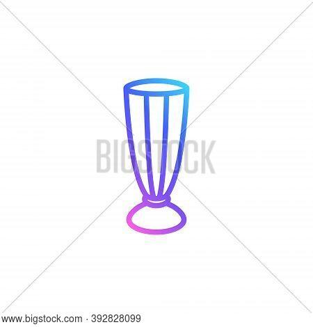 Milkshake Glass Vector Icon In Bright Color Gradient. Cute Outlined Glass For Milkshake Isolated On