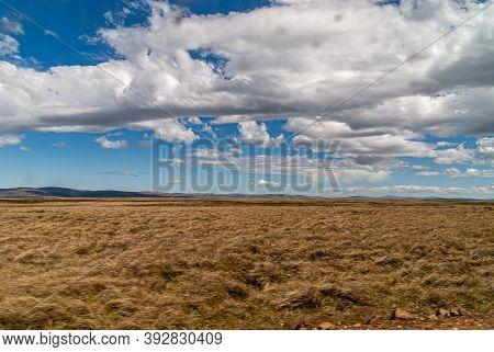 Falkland Islands, Uk - December 15, 2008: Wide Windswept Flat Bare Landscape Of Dry Land  Under Spec