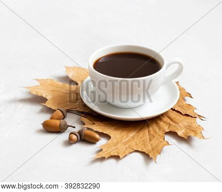 Black Coffee, Autumn Leaves And Acorns On A White Background. Acorn Coffee Without Caffeine. Side Vi
