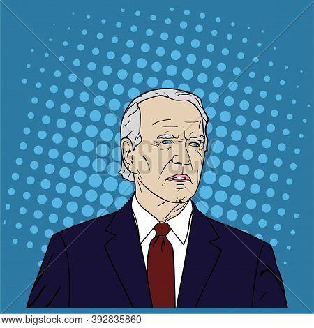 Election Of Usa, Joe Biden Portrait, Flat Design, Pop Art Design, Vector, Illustration. Washington