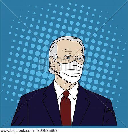 Election Of Usa, Joe Biden Wearing Mask Portrait, Flat Design, Pop Art Design, Vector, Illustration.
