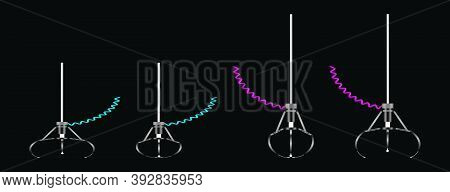 Robotic Claw Set On A White Background. Grip Robotic Claw In Factory. Cartoon Concept Colorful Vecto