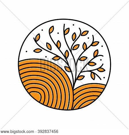 Minimalist Illustration Logo Design Mono Line Vintage Tree.