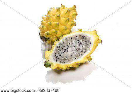 Yellow Kirin Fruit Pitahaya With White Background