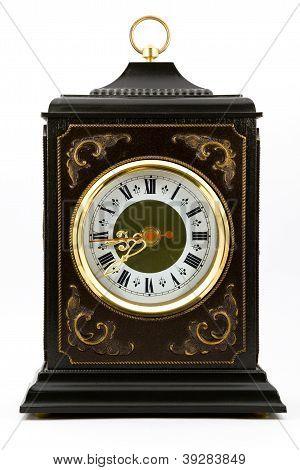 Antique Desk Clock With Gold Rim Around The Dial
