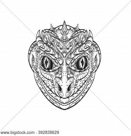 Line Art Drawing Illustration Head Of A Reptilian Humanoid Or Anthropomorphic Reptile, Legendary Cre