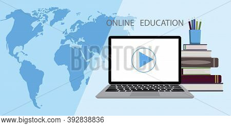 Online Education Virtual Class Teleconference. Flat Infographic With Online Education For Marketing