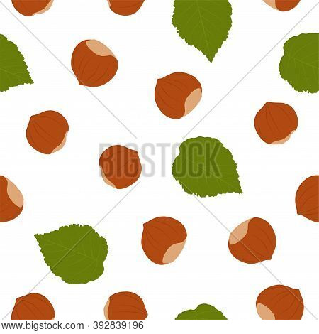 Hazelnut. Background With Hazelnut. Vector Seamless Pattern Eps.