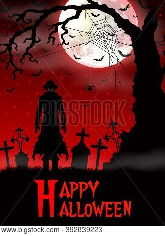 Vector Illustration Of Halloween Death With Grim Reaper In The Woods