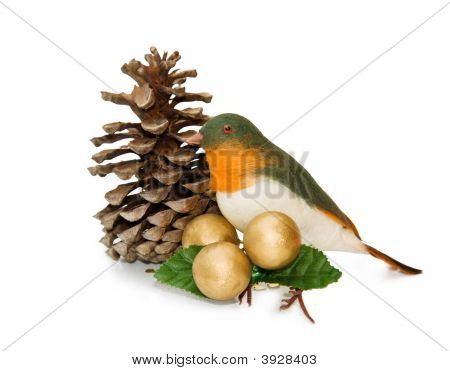 Christmas Vintage Bird Ornament With Clipping Path