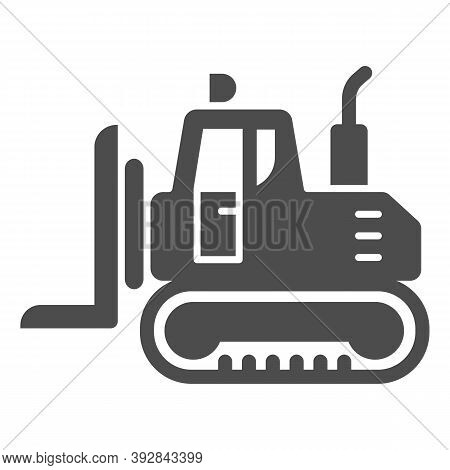 Industrial Track Loader Solid Icon, Heavy Equipment Concept, Crawler Dozer Tractor Sign On White Bac