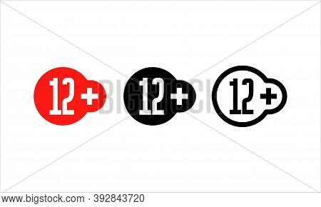 Age Restriction Sign. 12 Plus Years Old Sign. Twelve Plus Symbol. Teenagers Content Icon. Cinema Lab