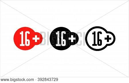 Age Restriction Of The Adult Content. 16 Plus Years Old Sign. Sixteen Plus Symbol. Teenagers Content