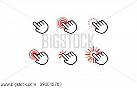 Hand And Arrow Computer Mouse Cursor Pointer Icons Set. Waiting, Loading. Target Clicks, Arrow Icons
