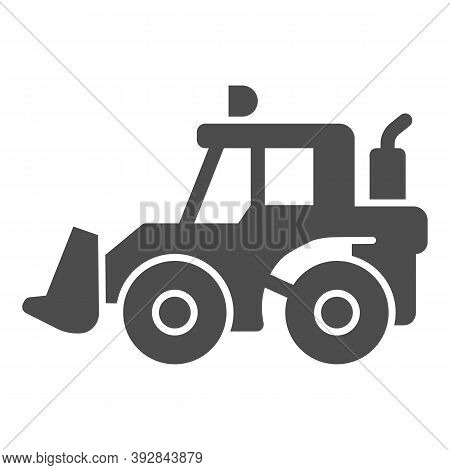 Tractor With Bucket Solid Icon, Heavy Equipment Concept, Backhoe Sign On White Background, Backhoe L