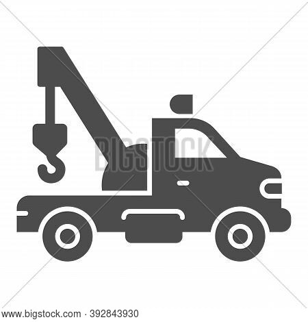 Tow Truck With Crane Solid Icon, Heavy Equipment Concept, Tow Car Sign On White Background, Car Towi