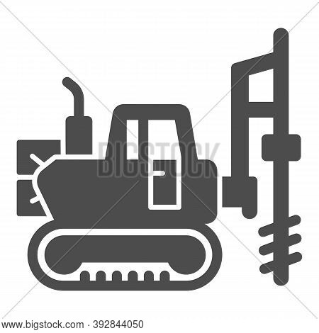 Large Excavator With Drill Solid Icon, Heavy Equipment Concept, Excavator With Hydraulic Hammer Sign