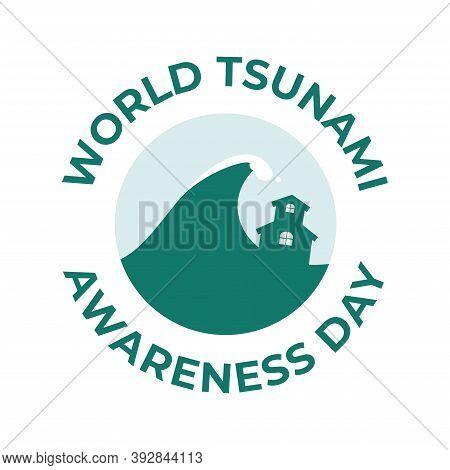 World Tsunami Awareness Day, 5 November. High Tide Waves Conceptual Illustration Vector. Visible Fro