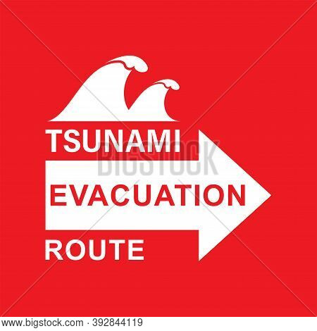 Illustration Of Vector Graphic Of Signs For Evacuation Routes. World Tsunami Awareness Day, 5 Novemb